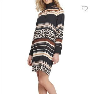 DKNY Leopard Print Shift Dress Large NWT